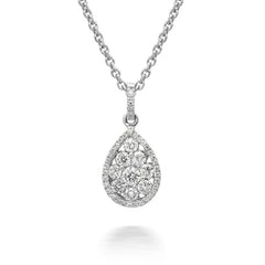 18ct White Gold 0.41ct Diamond Cluster Pear Necklace