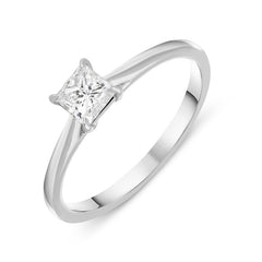 18ct White Gold 0.41ct Diamond Princess Cut Solitaire Engagement Ring
