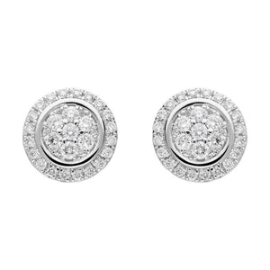 18ct White Gold 0.42ct Diamond Round Cluster Stud Earrings