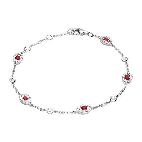18ct White Gold 0.43ct Diamond Ruby Marquise Bracelet