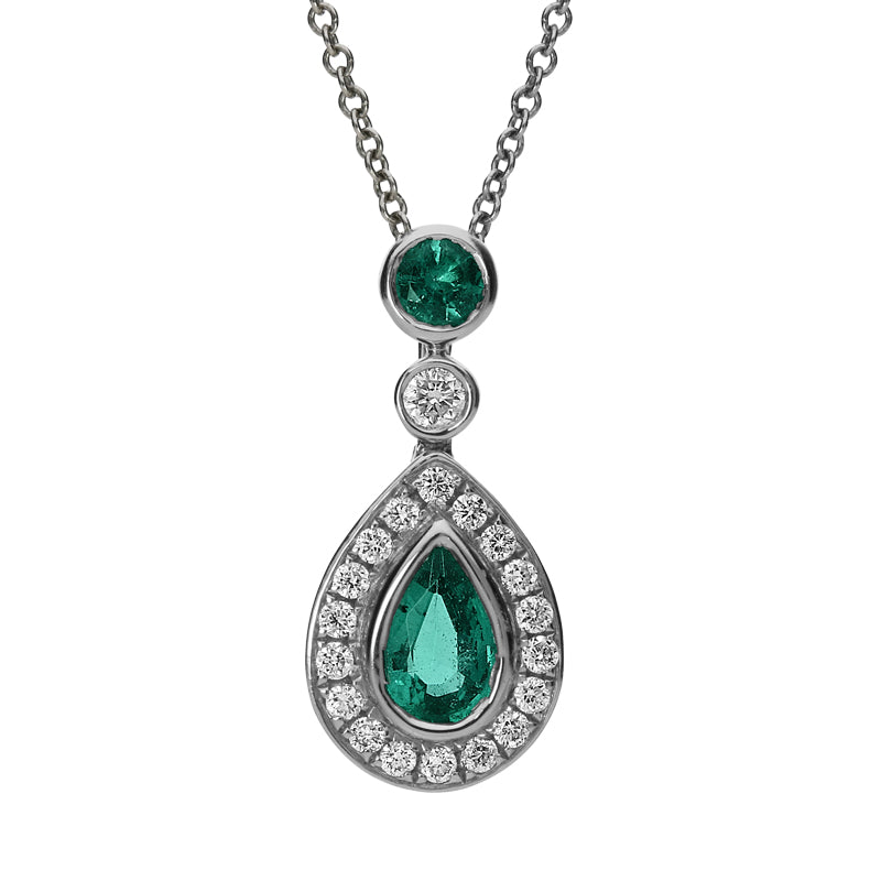 18ct White Gold 0.44ct Emerald and Diamond Pear Drop Necklace
