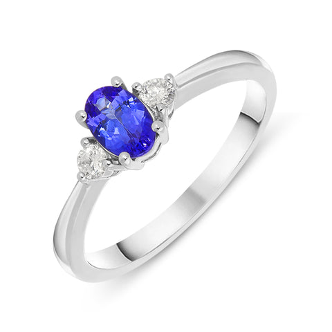 18ct White Gold 0.44ct Tanzanite and Diamond Oval Cut Ring