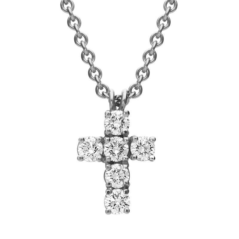 18ct White Gold 0.45ct Diamond Cross Necklace