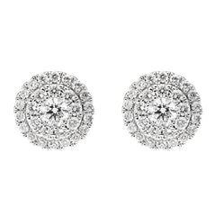 18ct White Gold 0.46ct Diamond Round Cluster Stud Earrings