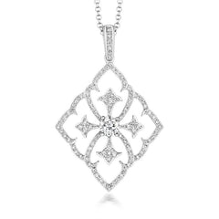 18ct White Gold 0.48ct Diamond Baroque Style Necklace