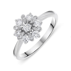 18ct White Gold 0.48ct Diamond Cluster Flower Ring