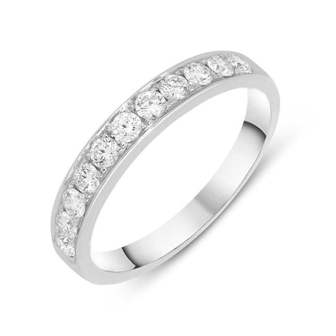 18ct White Gold 0.50ct Diamond Brilliant Cut Half Eternity Ring