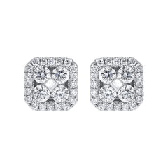 18ct White Gold 0.50ct Diamond Cushion Cluster Stud Earrings