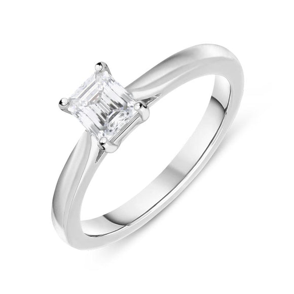 18ct White Gold 0.50ct Diamond Emerald Cut Solitaire Ring FEU-803