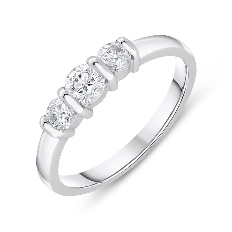 18ct White Gold 0.50ct Diamond Trilogy Bar Set Ring