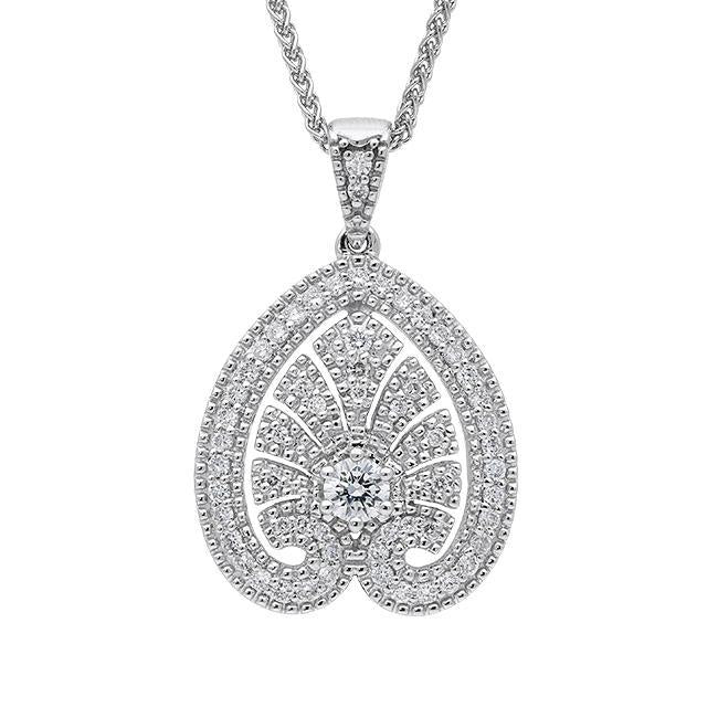 18ct White Gold 0.52 Carat Diamond House Style Small Leaf Necklace