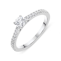 18ct White Gold 0.52ct Diamond Shoulder Ring