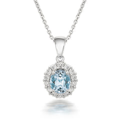 18ct White Gold 0.54ct Aquamarine Diamond Halo Necklace