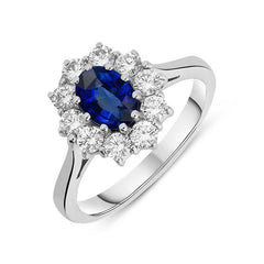 18ct White Gold 0.60ct Diamond 0.77ct Sapphire Claw Set Cluster Ring
