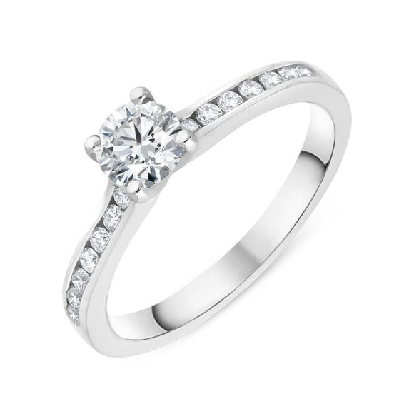 18ct White Gold 0.63ct Diamond Shoulder Solitaire Ring, R1133.