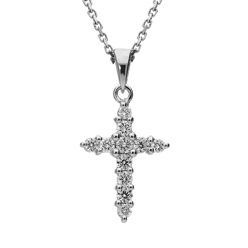 18ct White Gold 0.67 Carat Diamond Cross Necklace