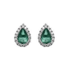 18ct White Gold 0.67ct Emerald Diamond Pear Stud Earrings