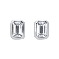 18ct White Gold 0.70ct Diamond Baguette Cut Stud Earrings