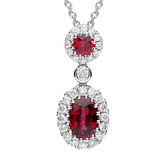 18ct White Gold 0.72ct Ruby 0.23ct Diamond Necklace. FEU-1400.