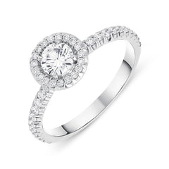 18ct White Gold 0.73ct Brilliant Cut Diamond Halo Ring