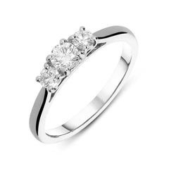 18ct White Gold 0.75ct Diamond Trilogy Ring