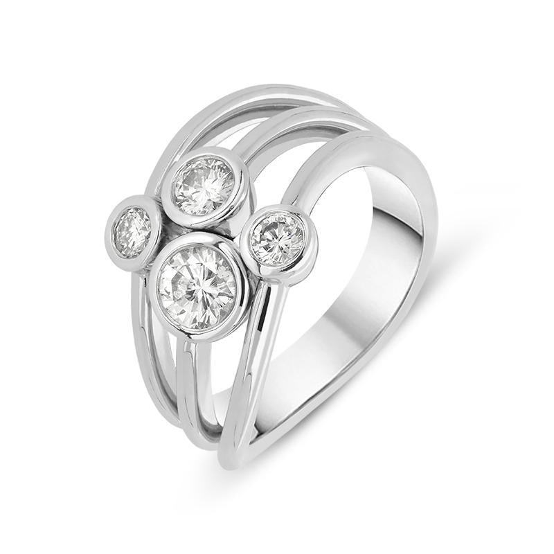 18ct White Gold 0.76ct Diamond Bubble Ring