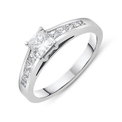 18ct White Gold 0.78ct Diamond Princess Cut Solitaire Ring