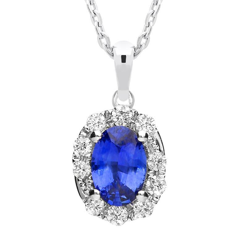 18ct White Gold 0.80ct Sapphire and Diamond Swirl Necklace