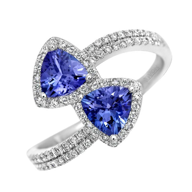 18ct White Gold 0.80ct Tanzanite And 0.30ct Diamond Cluster Ring