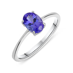 18ct White Gold 0.80ct Tanzanite Oval Cut Solitaire Ring
