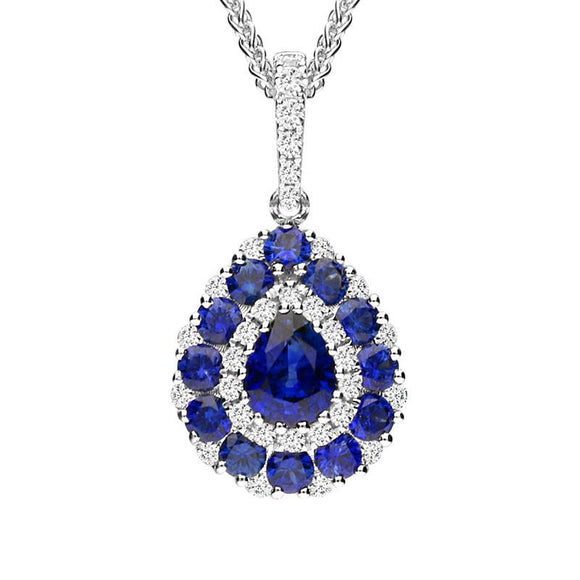 18ct White Gold 0.82ct Sapphire 0.22ct Diamond Pear Cluster Necklace 26854A9