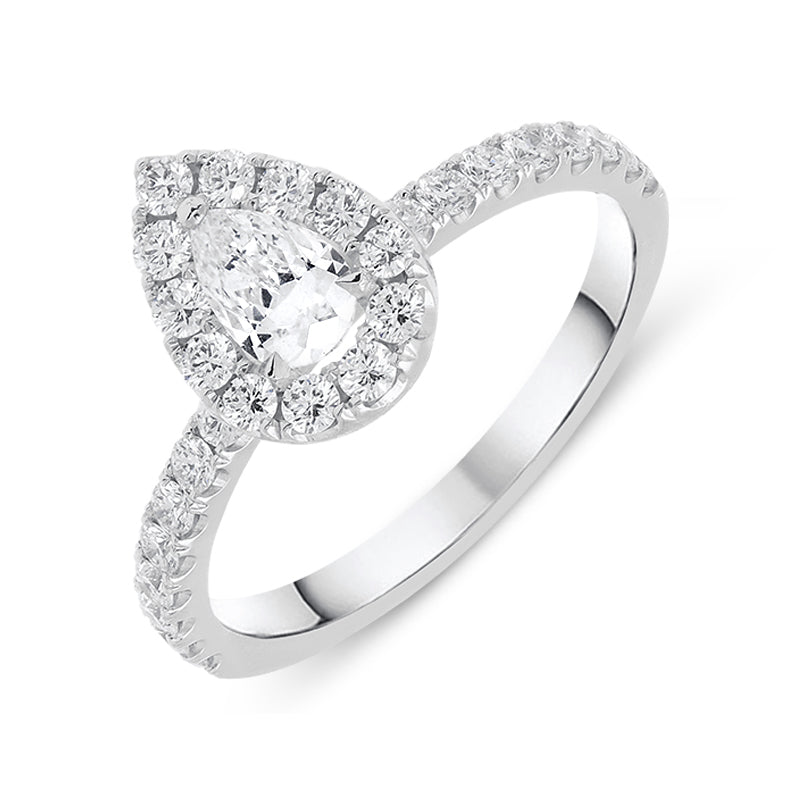 18ct White Gold 0.83ct Pear Cut Diamond Halo Ring
