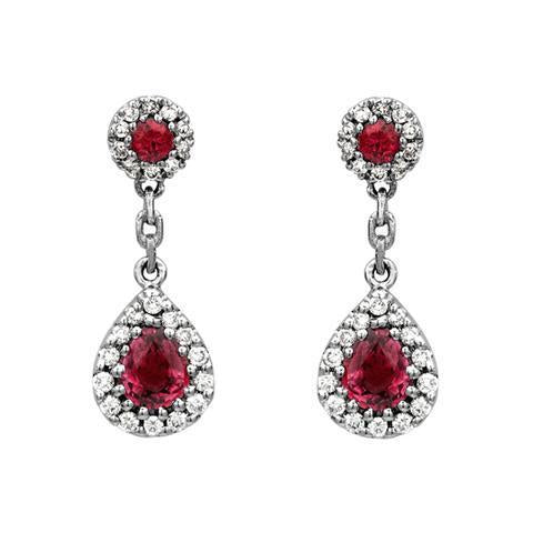 18ct White Gold 0.85ct Ruby Diamond Pear Cluster Drop Earrings