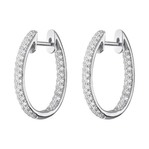18ct White Gold 0.87ct Diamond Inside Out Hoop Earrings