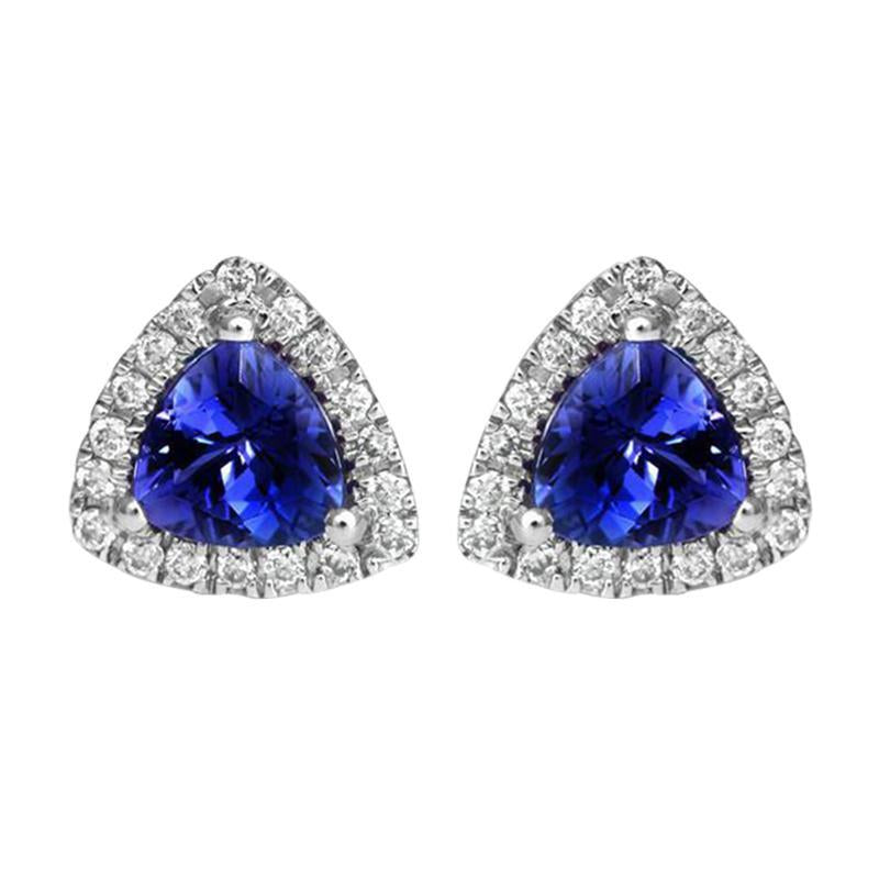 18ct White Gold 0.90ct Tanzanite Diamond Stud Earrings