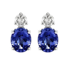 18ct White Gold 0.92ct Tanzanite and Diamond Stud Earrings