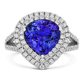 18ct White Gold 0.93ct Tanzanite 0.90ct Diamond Pear Cut Cluster Ring