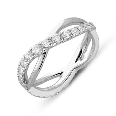 18ct White Gold 0.95ct Diamond Wave Ring