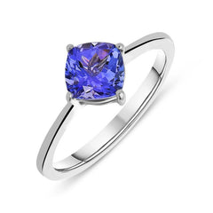 18ct White Gold 1.00ct Tanzanite Cushion Cut Solitaire Ring