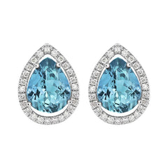 18ct White Gold 1.01ct Aquamarine Diamond Halo Earrings