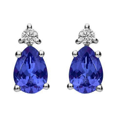 18ct White Gold 1.05ct Tanzanite Diamond Pear Cut Stud Earrings