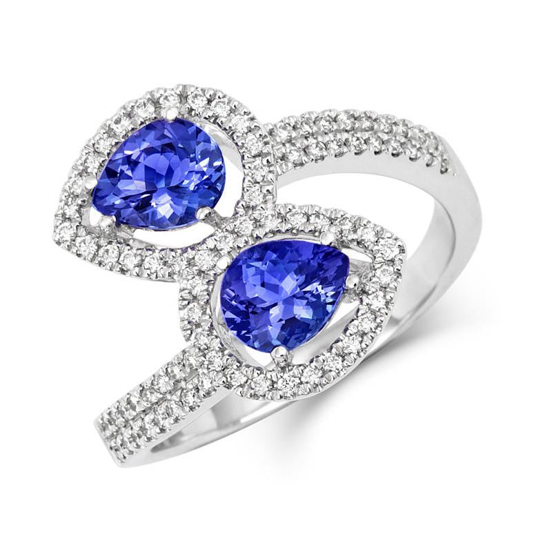 18ct White Gold 1.09ct Tanzanite 0.28ct Diamond Twist Ring