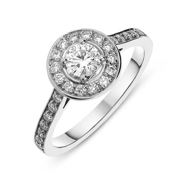 18ct White Gold 1.11ct Diamond Vintage Cluster Ring