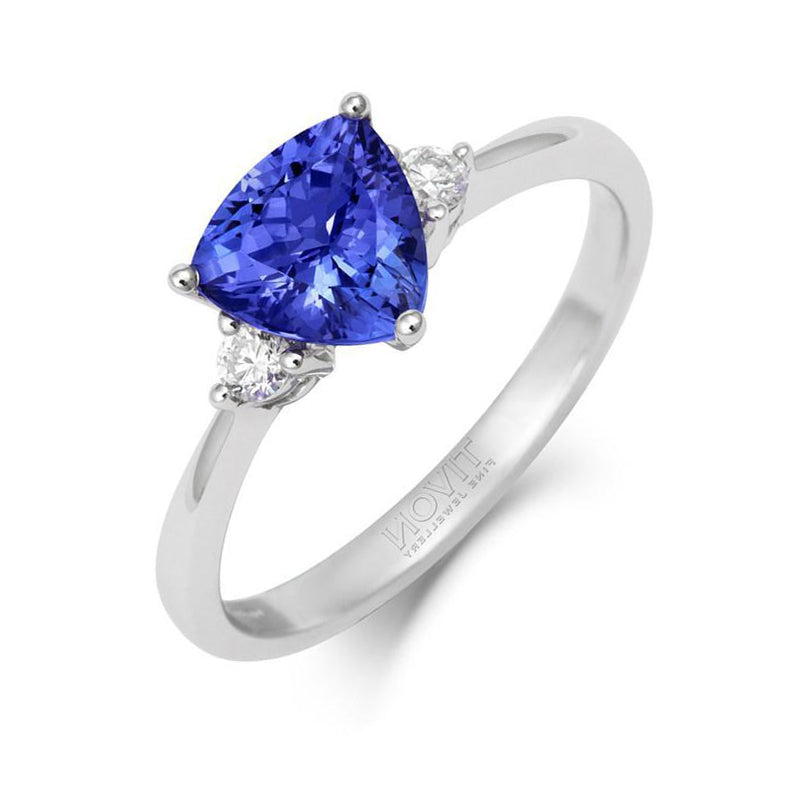 18ct White Gold 1.23ct Tanzanite and Diamond Trillion Cut Ring