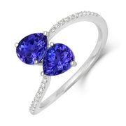 18ct White Gold 1.31ct Tanzanite Diamond Twist Ring, RW-1048-TZ.
