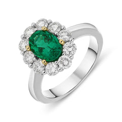 18ct White Gold 1.35ct Emerald and Diamond Oval Cluster Ring