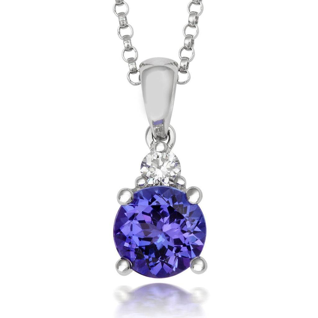 18ct White Gold 1.46ct Tanzanite 0.09ct Diamond Necklace