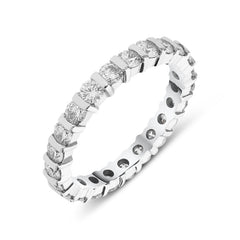 18ct White Gold 1.60ct Diamond Bar Set Full Eternity Ring