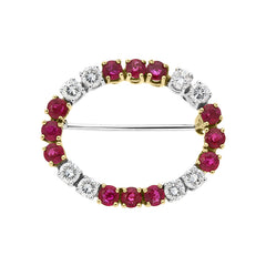 18ct White Gold 1.63ct Ruby Diamond Brooch