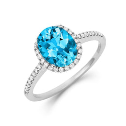 18ct White Gold 1.66ct Blue Topaz Diamond Halo Ring, RW-0422-BT.